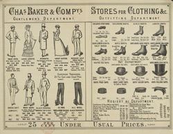 Advert for Chas. Baker & Co, clothier, reverse side